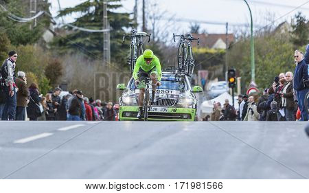 Conflans-Sainte-HonorineFrance-March 62016: The Dutch cyclist Wouter Wippert of Cannondale Team riding during the prologue stage of Paris-Nice 2016.