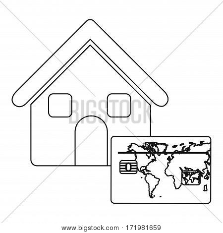 monochrome contour house with frame map of the world vector illustration