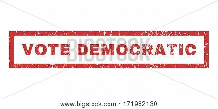 Vote Democratic text rubber seal stamp watermark. Tag inside rectangular banner with grunge design and dust texture. Horizontal vector red ink sticker on a white background.