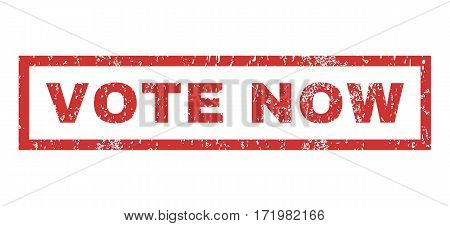 Vote Now text rubber seal stamp watermark. Tag inside rectangular banner with grunge design and dirty texture. Horizontal vector red ink emblem on a white background.