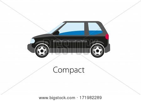 Compact car isolated on white background. Vintage car in flat style logo icon symbol. High quality transport convenient car for city traffic. Luxury high class sedan automobile vector illustration.