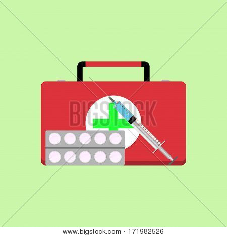 Fast first medical aid. Health and injection syringe vector illustration