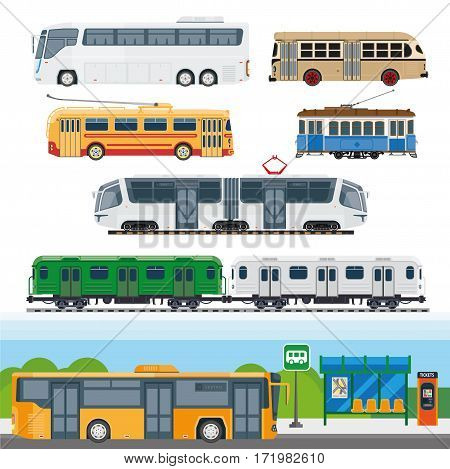 City means of transportation set. Types of buses, minibuses, railroad trains, trolleybuses using trolley poles, trackless tram, school buses and suburban trains. Vector illustration of transport cars