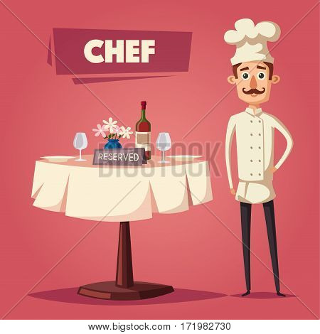 Reserved sign on the table in restaurant. Cartoon vector illustration. Dinner date. Celebration at the cafe. Food and drink theme. Romantic evening. Funny chef