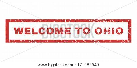Welcome To Ohio text rubber seal stamp watermark. Caption inside rectangular banner with grunge design and dust texture. Horizontal vector red ink emblem on a white background.