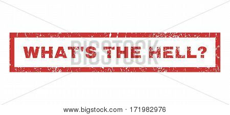 What S The Hell Question text rubber seal stamp watermark. Caption inside rectangular banner with grunge design and dirty texture. Horizontal vector red ink emblem on a white background.