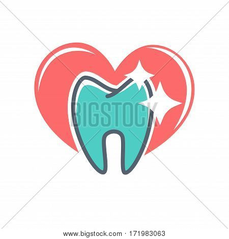 Dental logo on background of red heart. Dentistry icon, toothpaste advertisement. Logotype for stomatology clinic. Odontology emblem vector illustration, tooth implant sign. Ideal smile concept