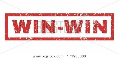 Win-Win text rubber seal stamp watermark. Tag inside rectangular shape with grunge design and dirty texture. Horizontal vector red ink sign on a white background.