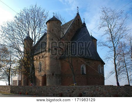 Belarus St. Michael's Church in the village Synkovichi Grodno region Gothic fortified church 28/01/2005 editorial