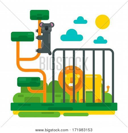 Lion near fence and lemur on abstract branches. Zoo picture in flat style design. Cartoon unau and big lion in cage vector illustration for children book. Sun and clouds in sky, fairy scenery