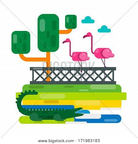 Pink flamingo near fence and alligator on abstract lake. Zoo vector illustration in flat style design. Cartoon birds and big crocodile picture for children book. Clouds in sky, green trees