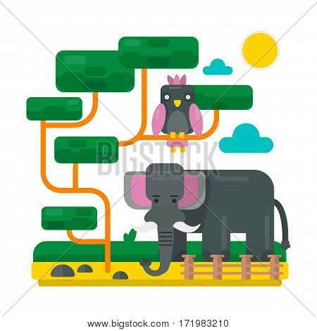 Elephant near fence and bird on abstract branches. Zoo picture in flat style design. Cartoon crow and big elephant vector illustration for children book. Sun and clouds in sky, fairy scenery