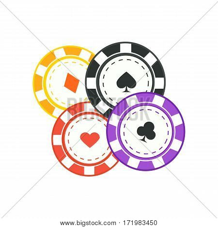 Gambling chips vector in flat style. Four casino chips with card suits. Illustration for gambling industry, sport lottery services, icons, web pages, logo design. Isolated on white background.