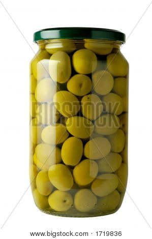 Glass Jar Of Preserved Olives With Clipping Path