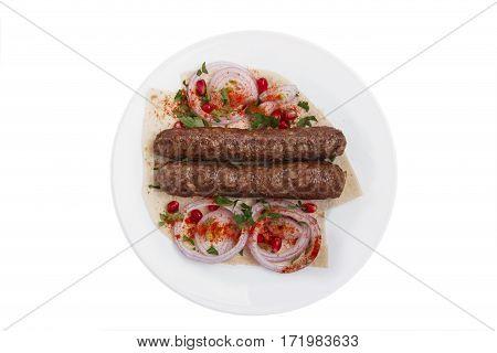 lula kebab traditional Georgian dish white background top view