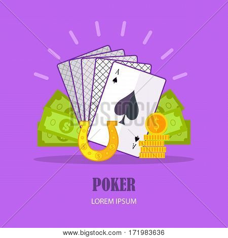 Poker concept vector in flat style. Cards, horseshoe, dollar bills, golden coins. Illustration for gambling industry, sport lottery services, icons, web pages, logo design. On violet background.