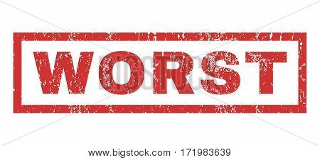 Worst text rubber seal stamp watermark. Caption inside rectangular shape with grunge design and dirty texture. Horizontal vector red ink sticker on a white background.