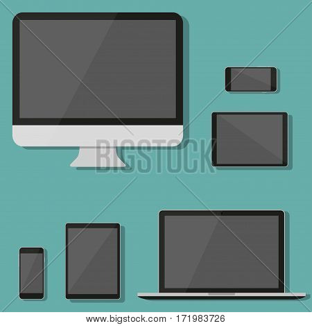 Modern technology device in a flat design. Monitor laptop tablet smartphone