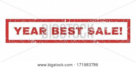 Year Best Sale exclamation text rubber seal stamp watermark. Tag inside rectangular shape with grunge design and dirty texture. Horizontal vector red ink emblem on a white background.