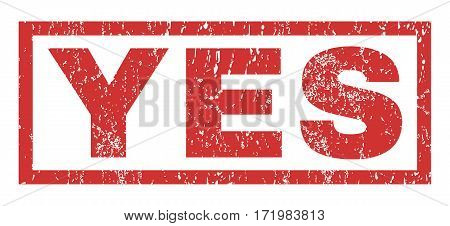 Yes text rubber seal stamp watermark. Tag inside rectangular banner with grunge design and dirty texture. Horizontal vector red ink emblem on a white background.