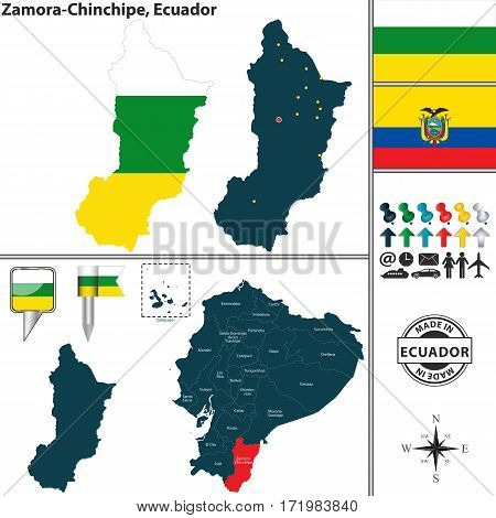 Map Of Zamora Chinchipe, Ecuador