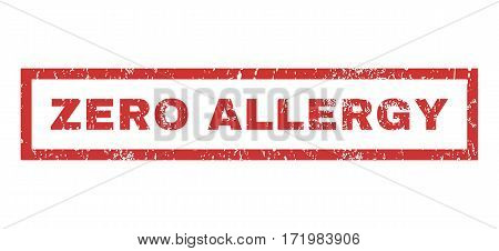 Zero Allergy text rubber seal stamp watermark. Tag inside rectangular shape with grunge design and dust texture. Horizontal vector red ink sticker on a white background.