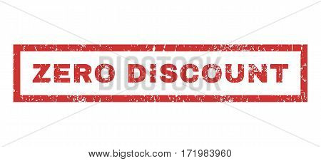 Zero Discount text rubber seal stamp watermark. Caption inside rectangular banner with grunge design and dust texture. Horizontal vector red ink emblem on a white background.