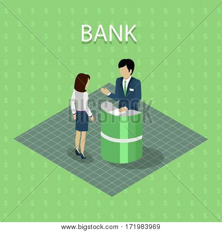 Isometric interior of the bank with people. Bank interior with consulting in flat. Finance and money, banker and bank interior, business people, commercial and lobby, worker and reception illustration