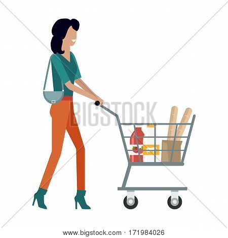 Woman with shopping cart in flat. Smiling woman in brown pants and green blouse. Woman daily shopping, supermarket shopping, customer in mall, retail store isolated illustration on white background.