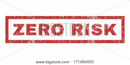 Zero Risk text rubber seal stamp watermark. Caption inside rectangular shape with grunge design and dust texture. Horizontal vector red ink emblem on a white background.