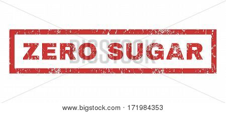 Zero Sugar text rubber seal stamp watermark. Tag inside rectangular shape with grunge design and scratched texture. Horizontal vector red ink sticker on a white background.