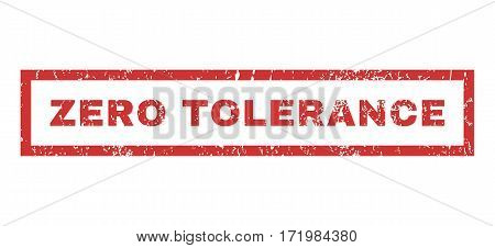 Zero Tolerance text rubber seal stamp watermark. Tag inside rectangular shape with grunge design and unclean texture. Horizontal vector red ink sticker on a white background.