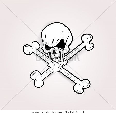 Jolly Roger sticker design. Vector skull illustration. Can beuse as print. Layered, easy to edit