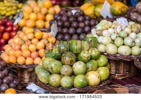 Fresh exotic fruits in Mercado Dos Lavradores. Funchal Madeira
