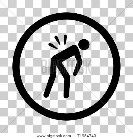 Backache vector pictograph. Illustration style is a flat iconic black symbol on a transparent background.
