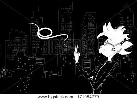Vector relaxed boy smoking cigarette on night city background. Black and white vector illustration.
