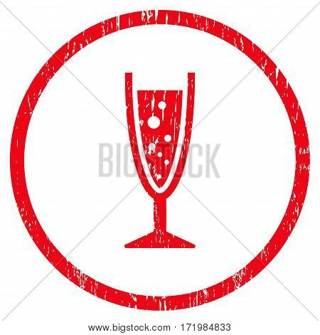 Champagne Glass grainy textured icon for overlay watermark stamps. Rounded flat vector symbol with dust texture. Circled red ink rubber seal stamp with grunge design on a white background.