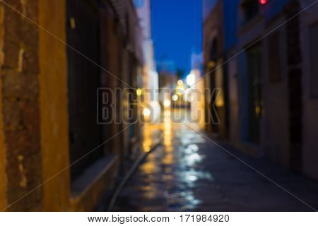 Night street bokeh. Blurred background