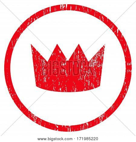 Crown grainy textured icon for overlay watermark stamps. Rounded flat vector symbol with dirty texture. Circled red ink rubber seal stamp with grunge design on a white background.