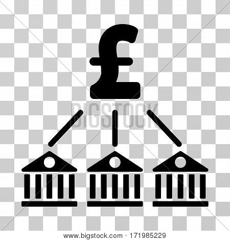 Bank Pound Expenses vector pictogram. Illustration style is a flat iconic black symbol on a transparent background.