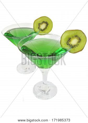 two glasses of green cordial with kiwi