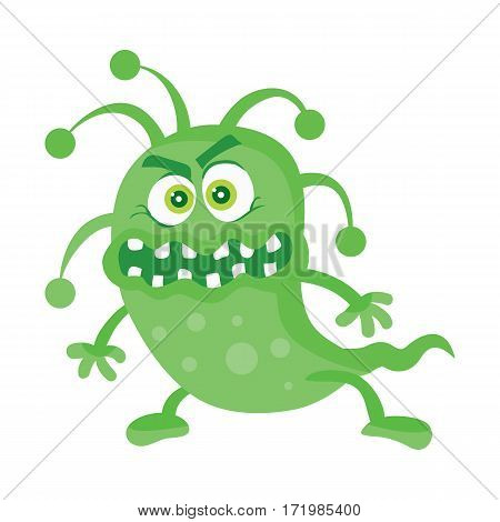 Bacteria cartoon character with eyes and mouth. Green angry microbe flat vector illustration isolated on white background. Virus, germ, monster or parasite icon. For medical, hygienic, science concept