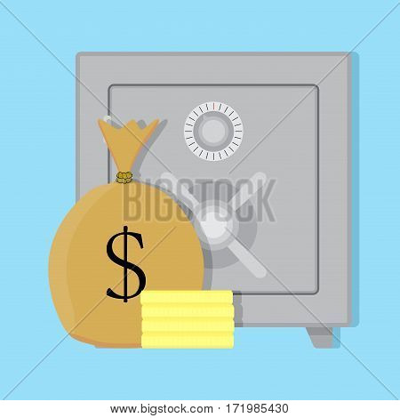 Deposit safe box. Currency trust bag with money. Vector illustration