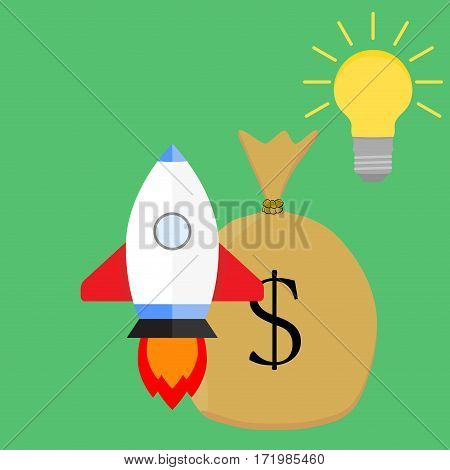 Successful launch start up idea. Rocket start and profit vector illustration