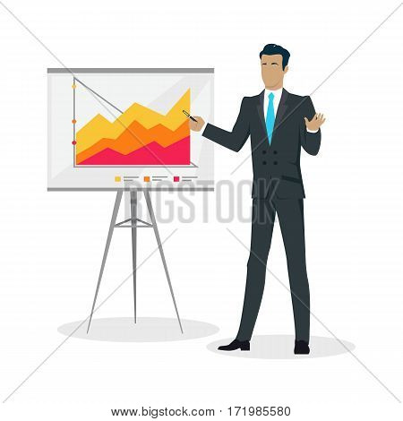 Young businessman in business suit and blue tie making a presentation near whiteboard with infographics. Shows business charts and graphs. Business seminar. Board at a presentation with information