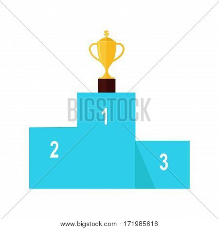 Winners podium isolated on white. Professional growth. First prize place. Trophy gold cup award. Achieving best results due to constant learning. Business education. Vector illustration