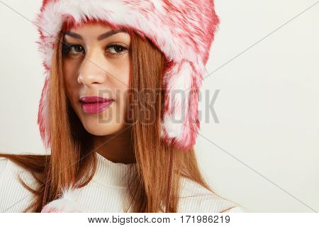 Mulatto Woman Wearing Winter Fur Cap