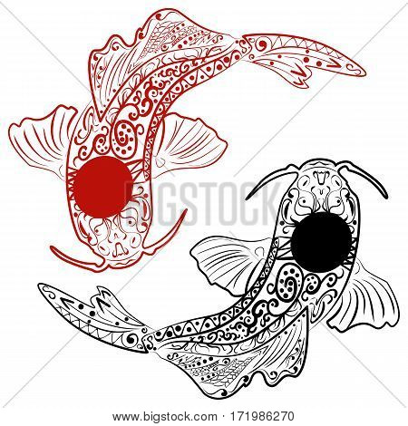 Zentangle stylized Hand drawn koi fish. Japanese carp line drawing for coloring book vector illustration