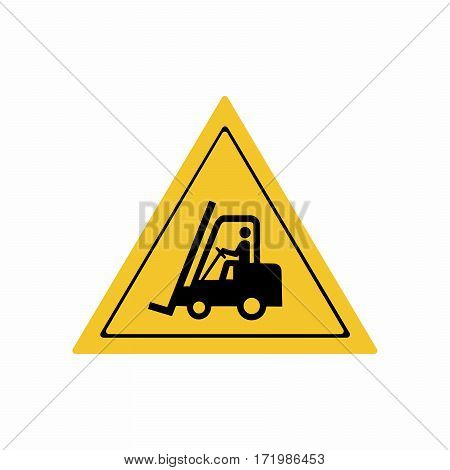 Forklift trucks and other industrial vehicles sign vector design isolated on white background