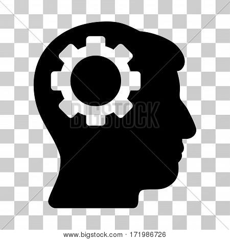 Brain Gear vector pictograph. Illustration style is a flat iconic black symbol on a transparent background.